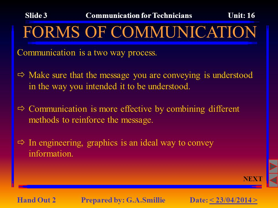 Slide 3 Communication for Technicians Unit: 16
