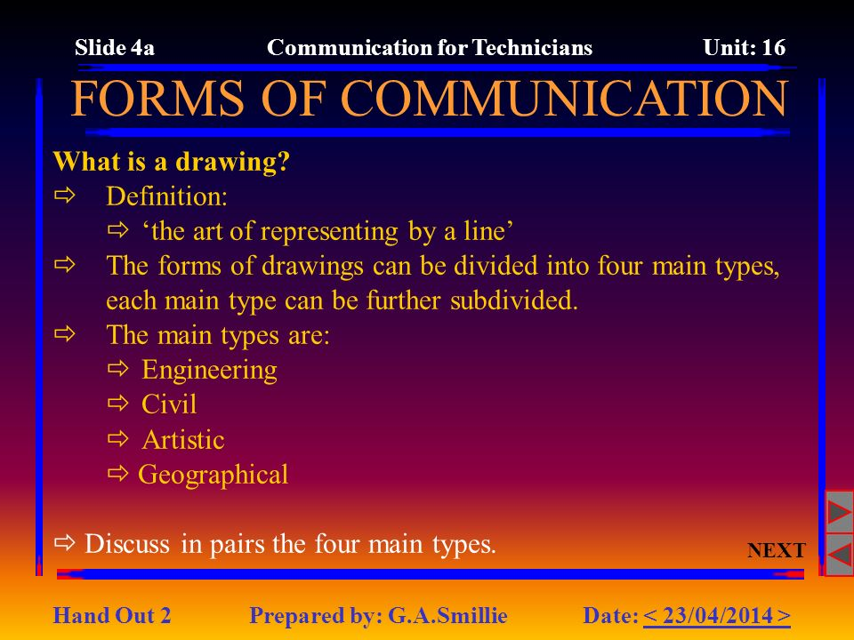 Slide 4a Communication for Technicians Unit: 16