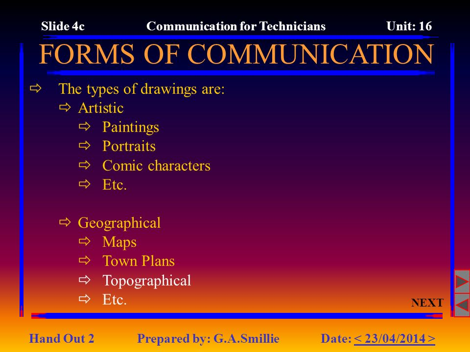 Slide 4c Communication for Technicians Unit: 16