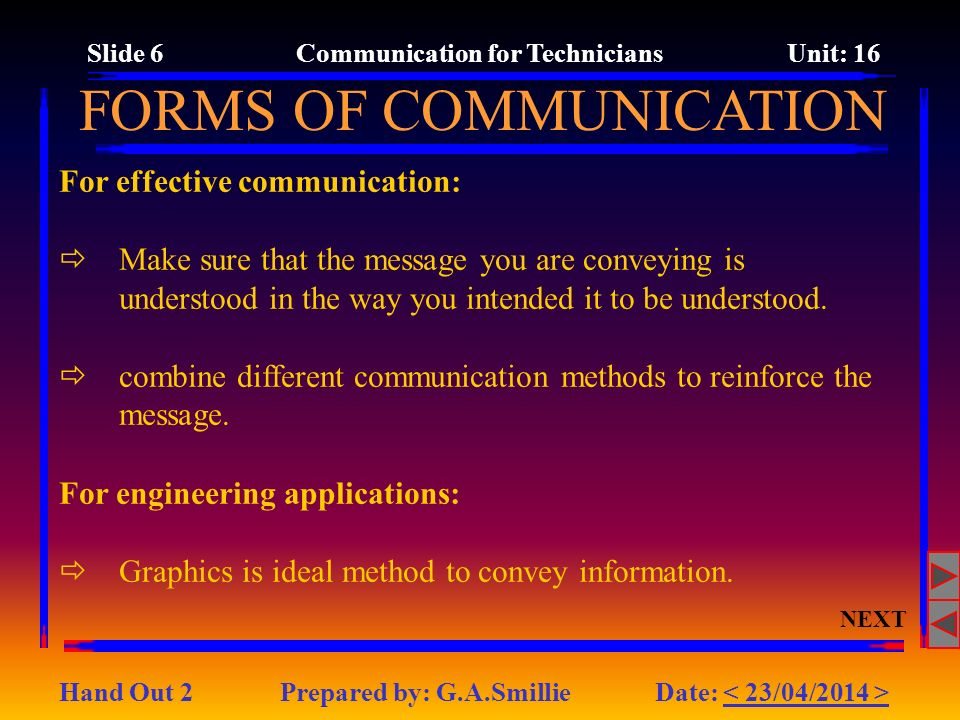 Slide 6 Communication for Technicians Unit: 16