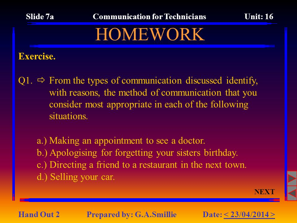 Slide 7a Communication for Technicians Unit: 16