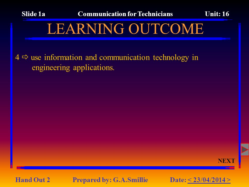 Slide 1a Communication for Technicians Unit: 16