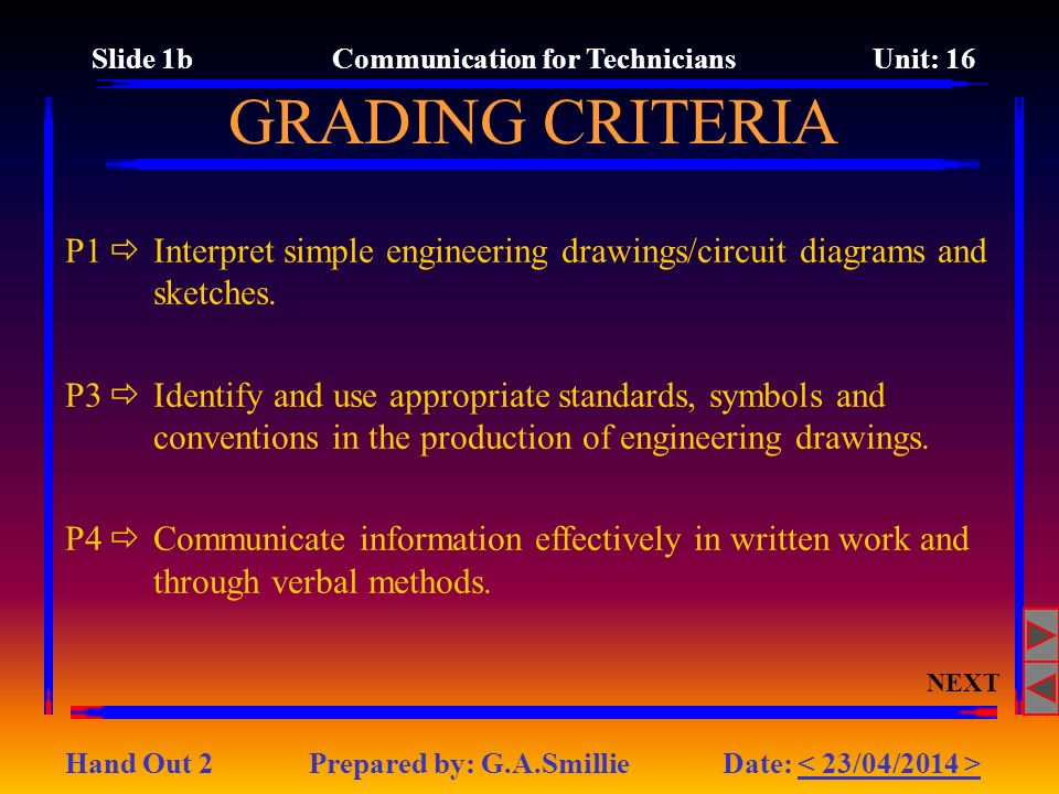 Slide 1b Communication for Technicians Unit: 16