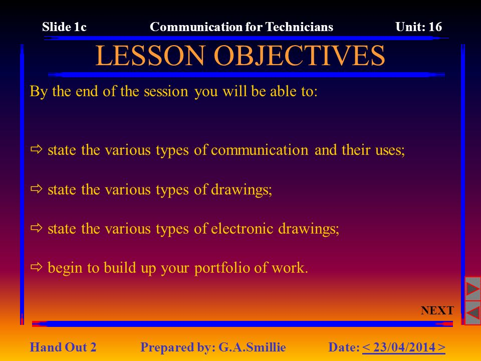 Slide 1c Communication for Technicians Unit: 16