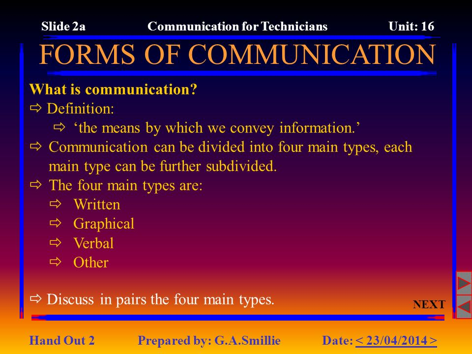 Slide 2a Communication for Technicians Unit: 16