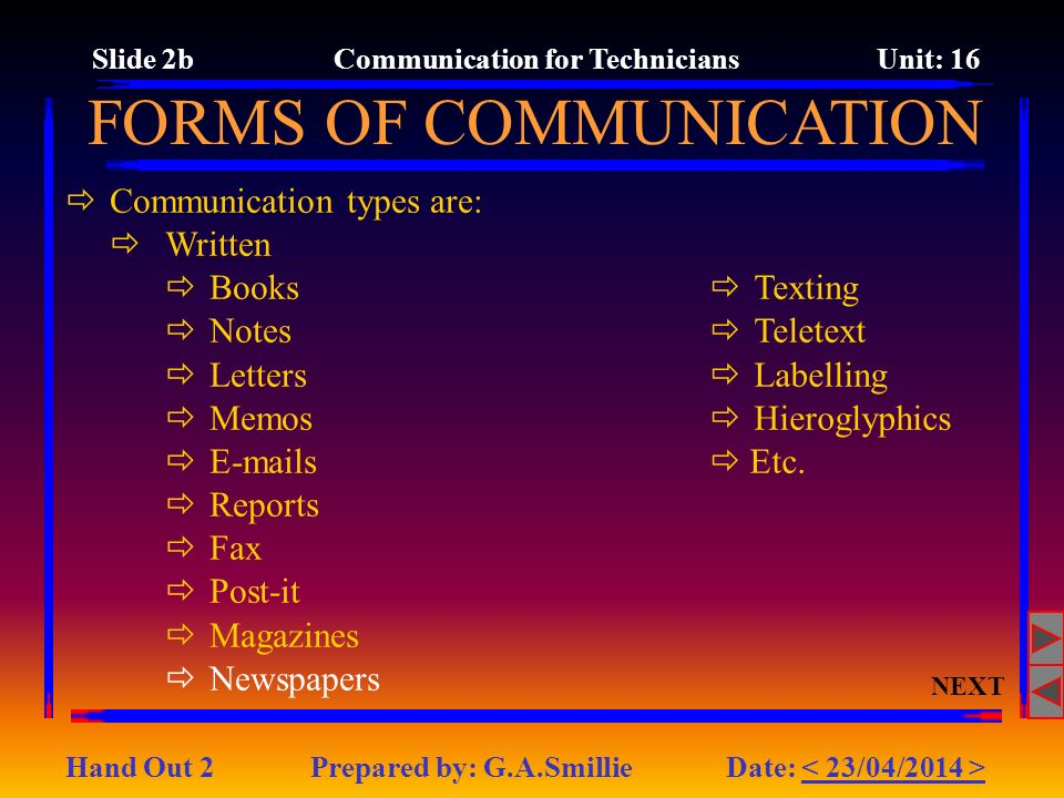 Slide 2b Communication for Technicians Unit: 16