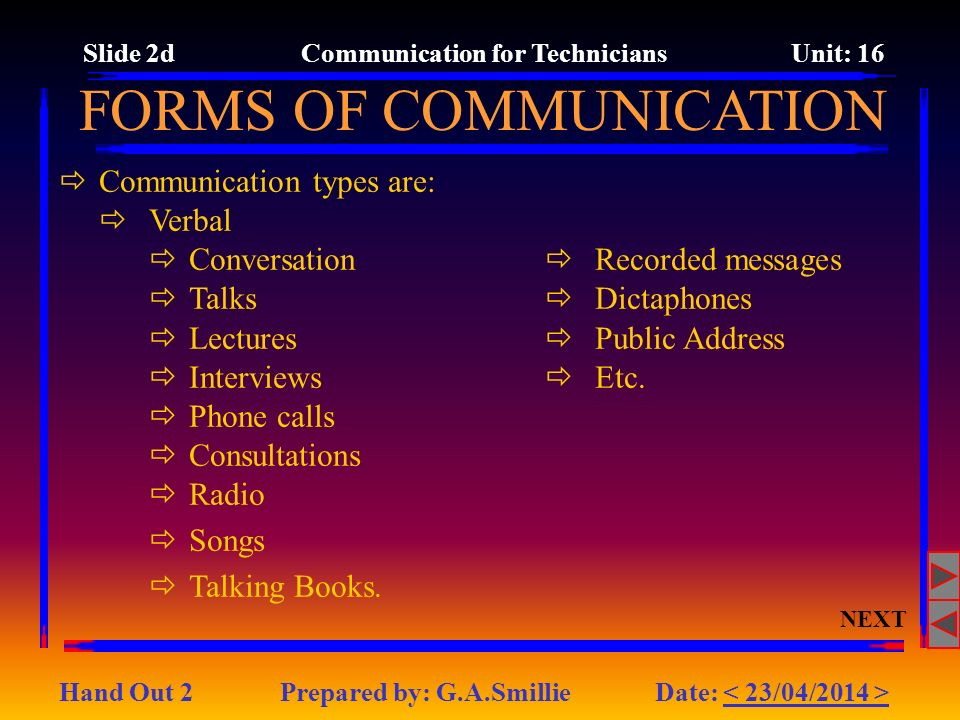 Slide 2d Communication for Technicians Unit: 16