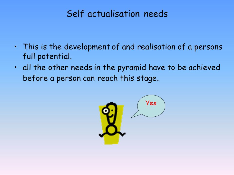 Self actualisation needs