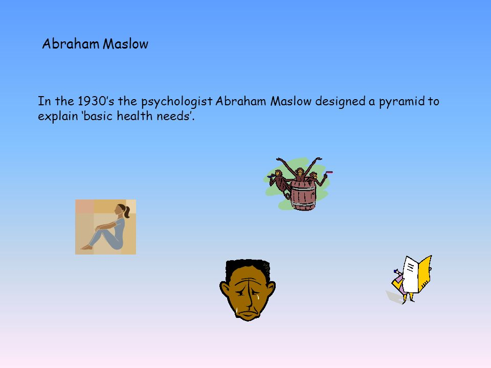Abraham Maslow In the 1930's the psychologist Abraham Maslow designed a pyramid to explain 'basic health needs'.