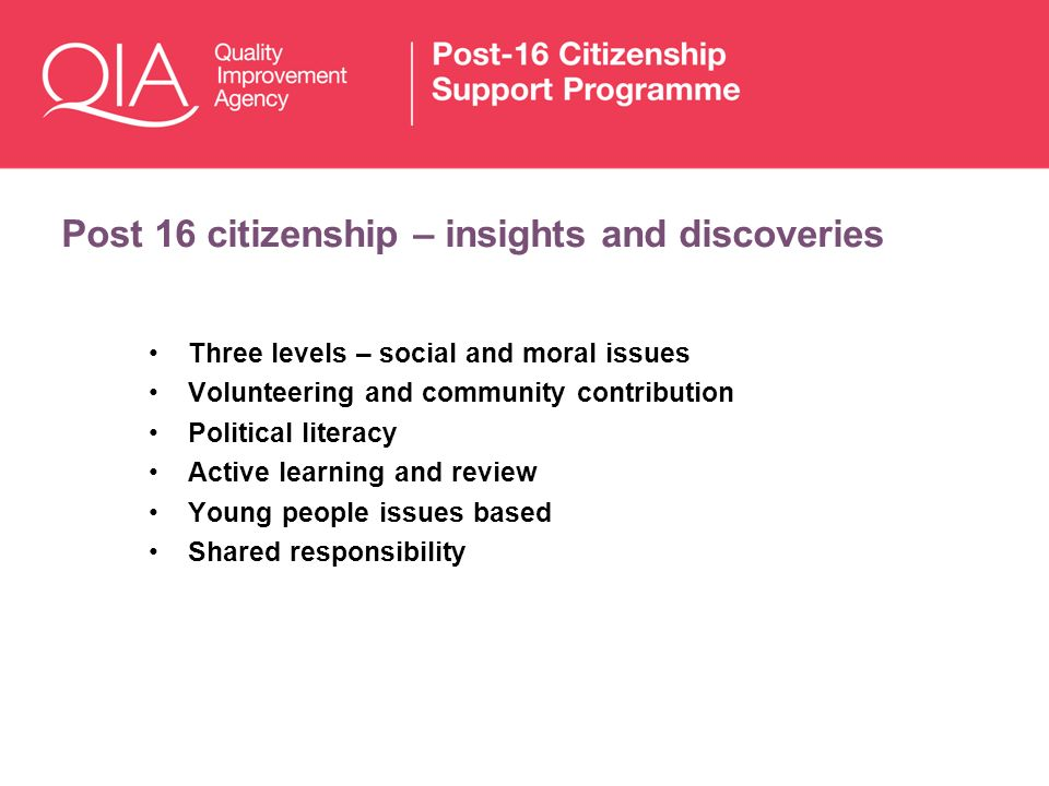 Post 16 citizenship – insights and discoveries