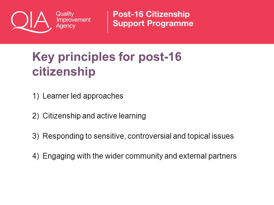 Key principles for post-16 citizenship