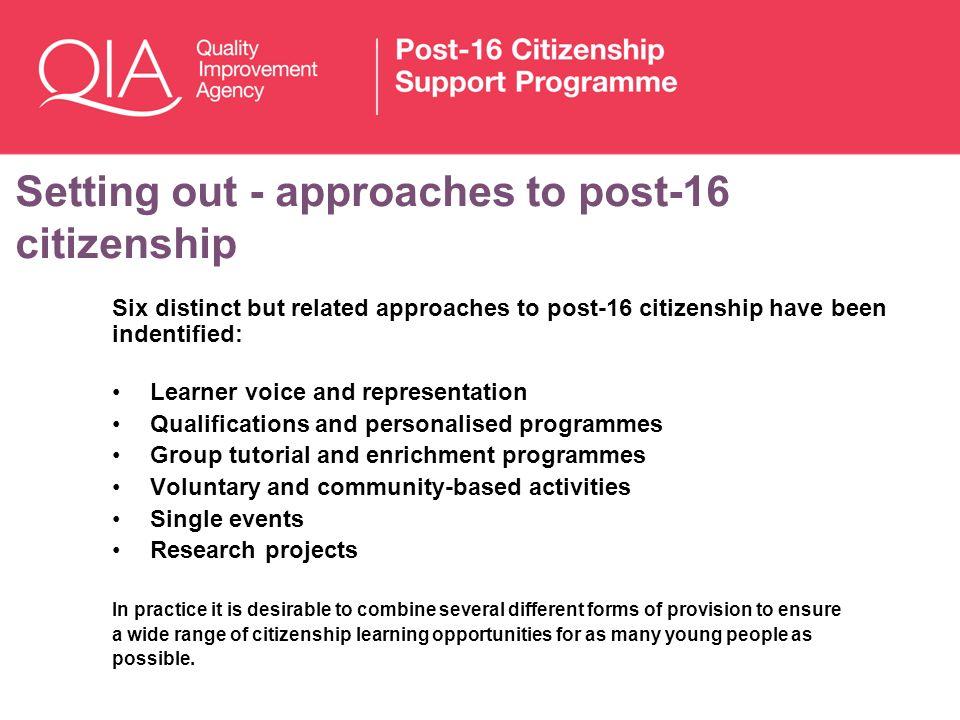 Setting out - approaches to post-16 citizenship