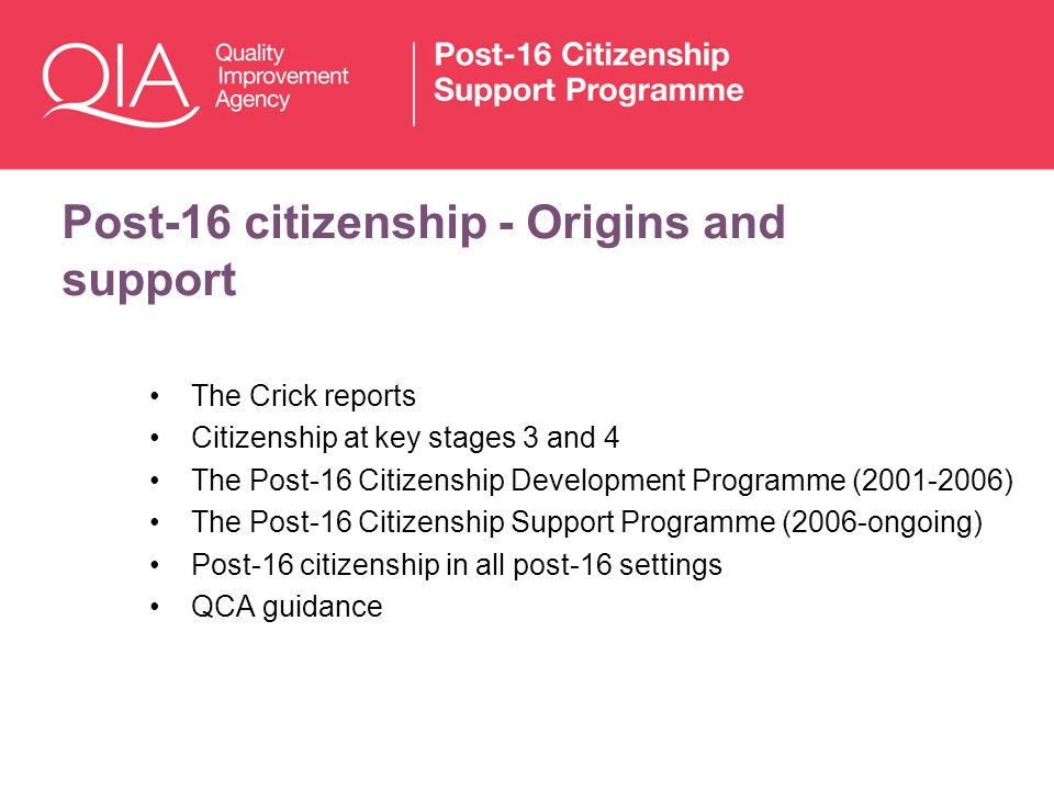 Post-16 citizenship - Origins and support