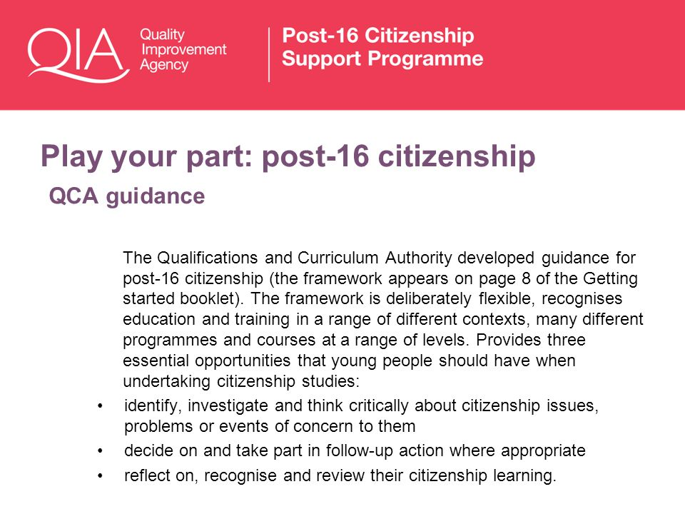 Play your part: post-16 citizenship QCA guidance