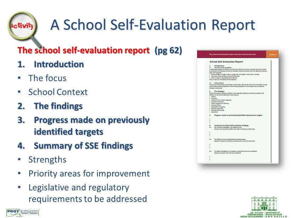 How to write a school self evaluation report