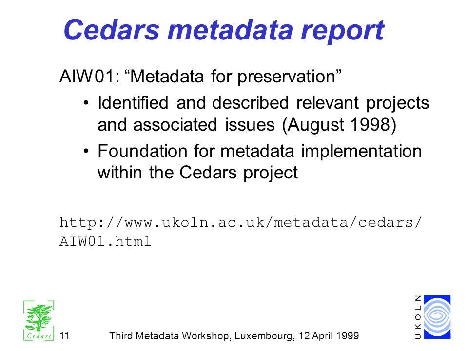 Cedars metadata report