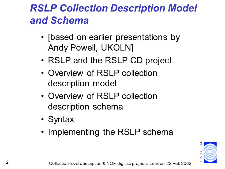 RSLP Collection Description Model and Schema