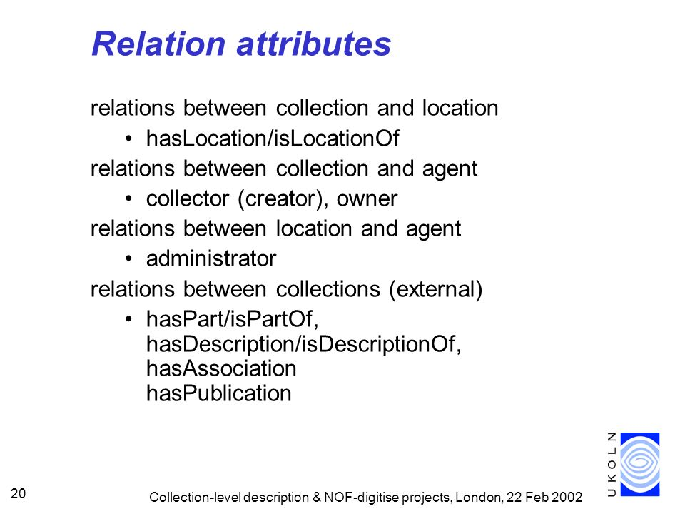 Relation attributes relations between collection and location