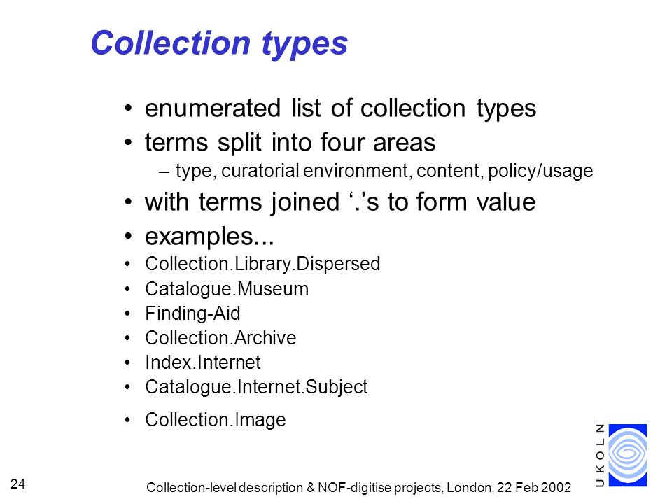 Collection types enumerated list of collection types