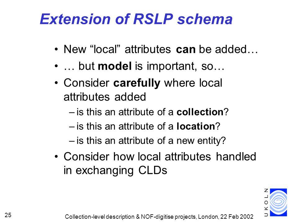Extension of RSLP schema