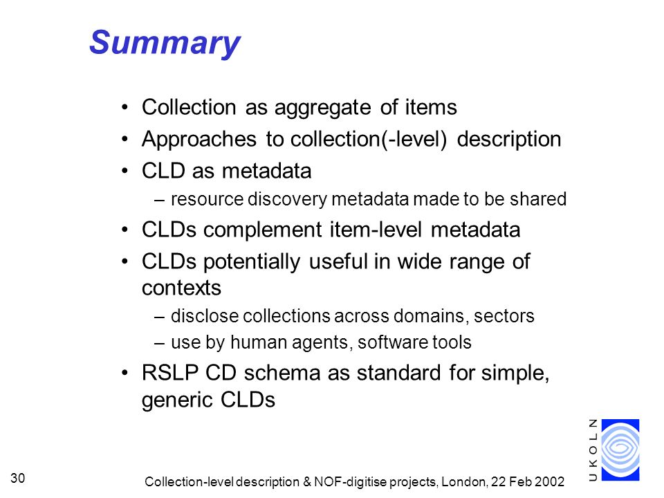 Summary Collection as aggregate of items