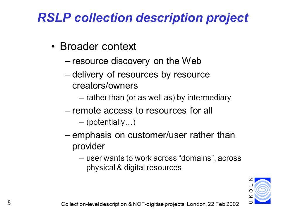 RSLP collection description project