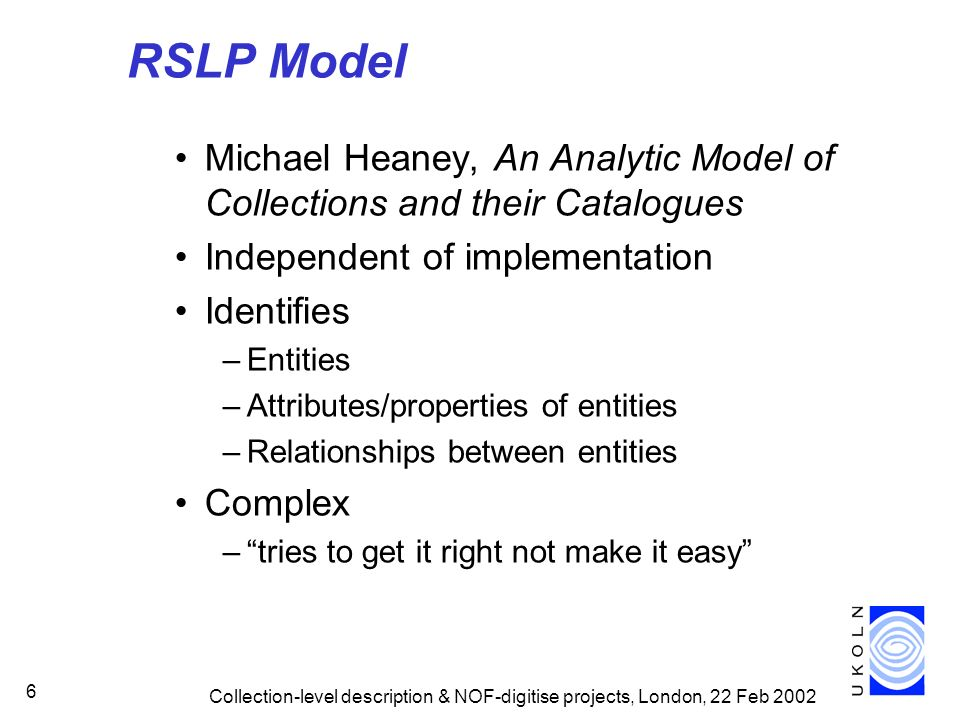 RSLP Model Michael Heaney, An Analytic Model of Collections and their Catalogues. Independent of implementation.
