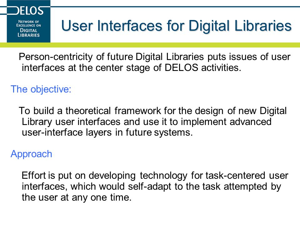 User Interfaces for Digital Libraries