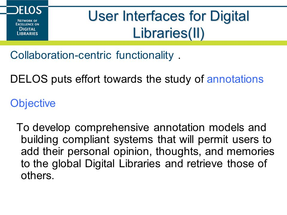 User Interfaces for Digital Libraries(II)