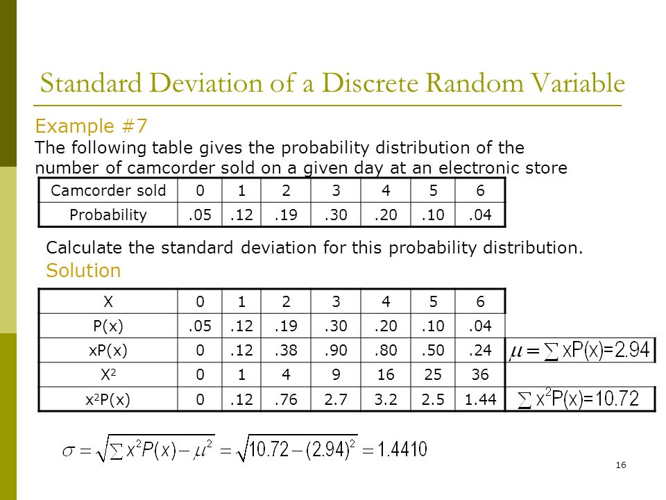 Discrete probability distributions ppt video online download standard deviation of a discrete random variable ccuart Images