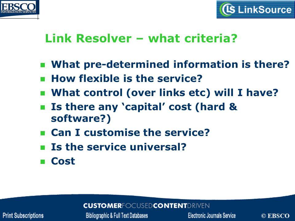 Link Resolver – what criteria