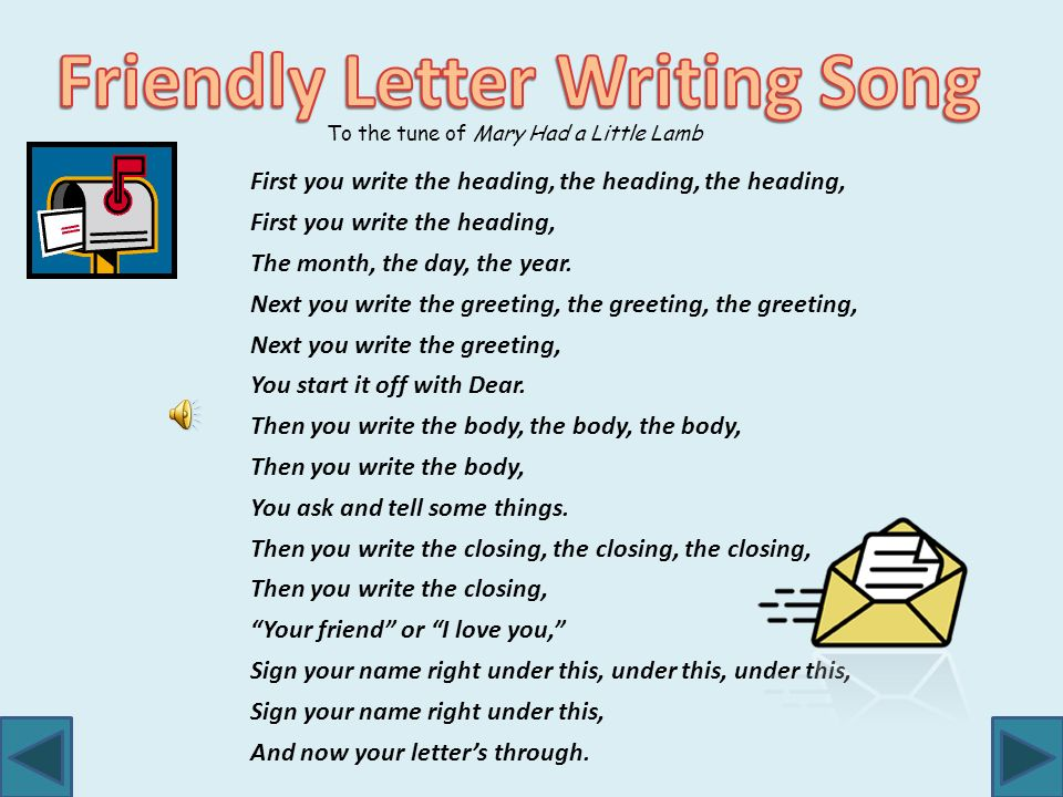 Writing a friendly letter ppt video online download friendly letter writing song spiritdancerdesigns Image collections