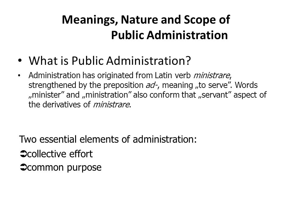 the scope of public administration A degree in public administration sounds really interesting and challenging and so does working in the field public administration studies are mainly dedicated to people that see themselves as ethical persons, are highly interested in making a difference for the greater welfare of the community.