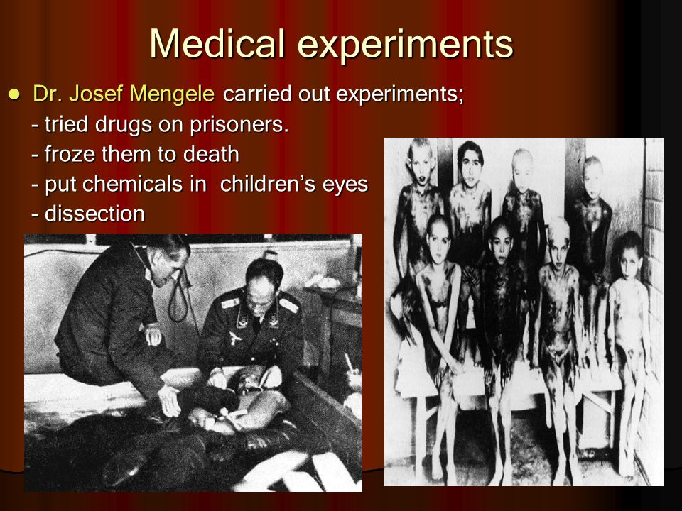 medical experiments on prisoners Personal statements from victims of nazi medical experiments  there was a belief among the female prisoners that the soup we were given to eat was drugged and the .