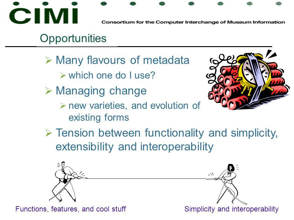 Many flavours of metadata Managing change
