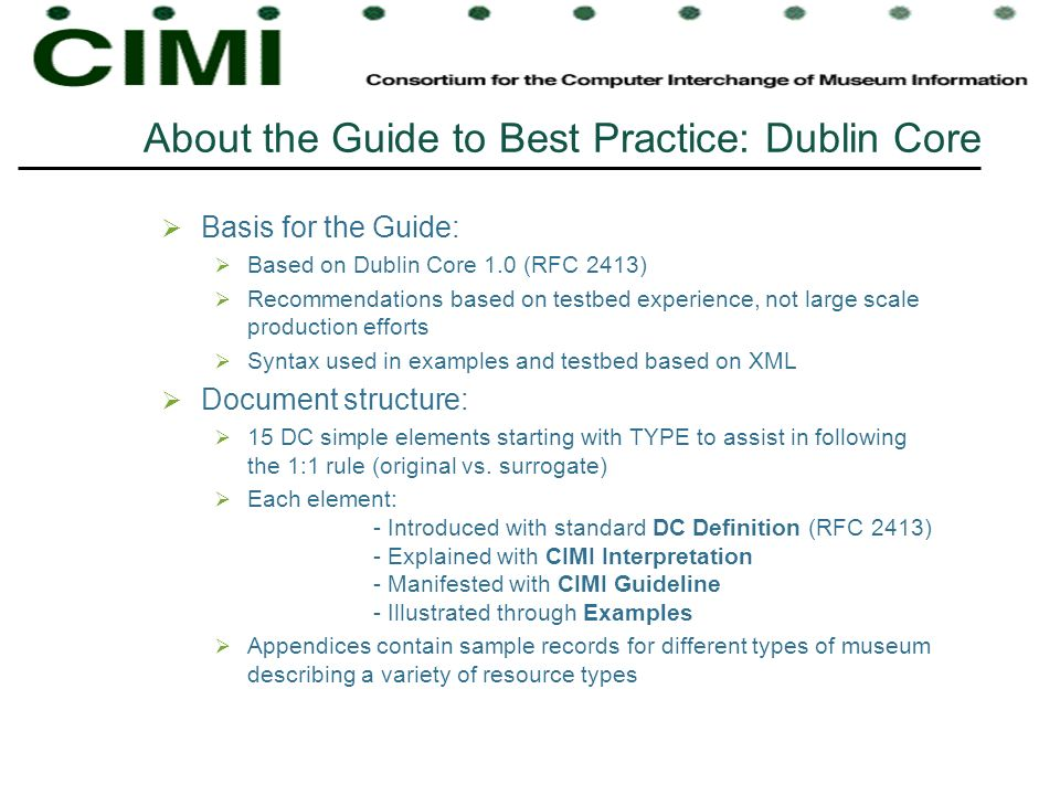 About the Guide to Best Practice: Dublin Core