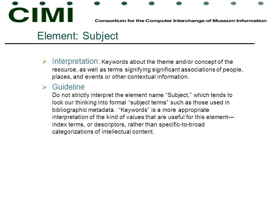Element: Subject