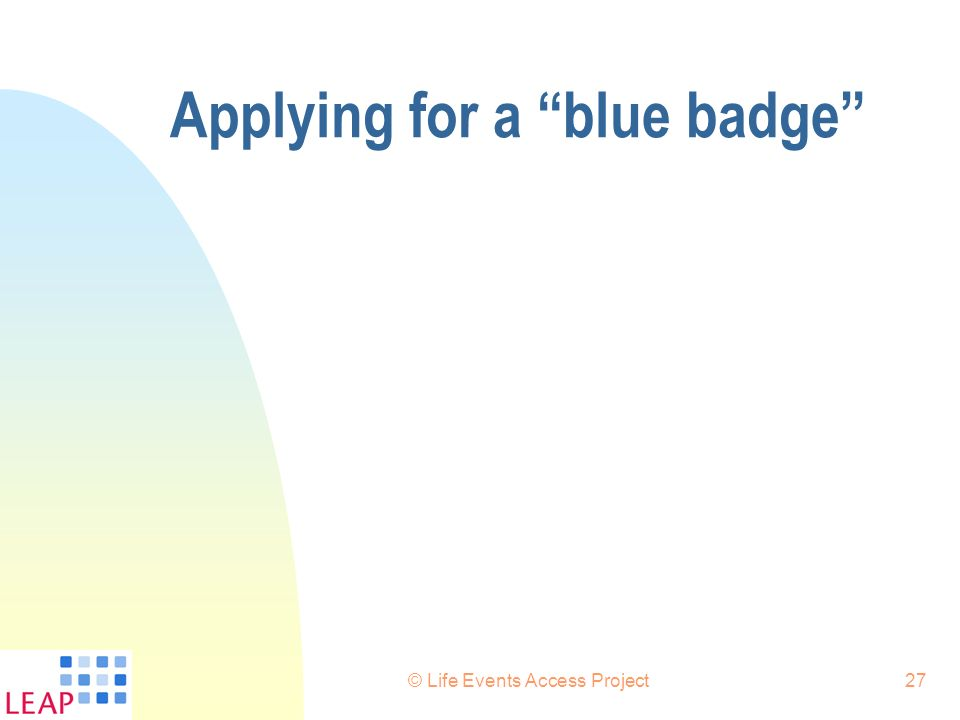 Applying for a blue badge