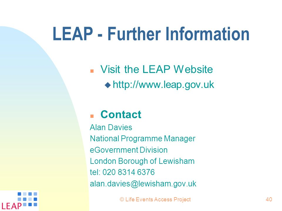LEAP - Further Information