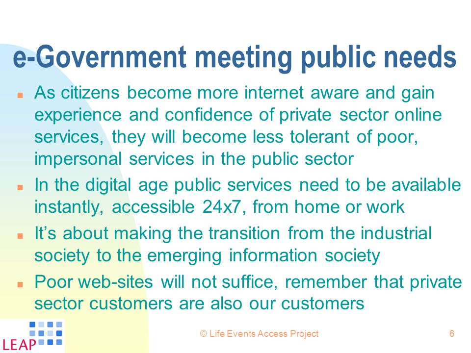 e-Government meeting public needs