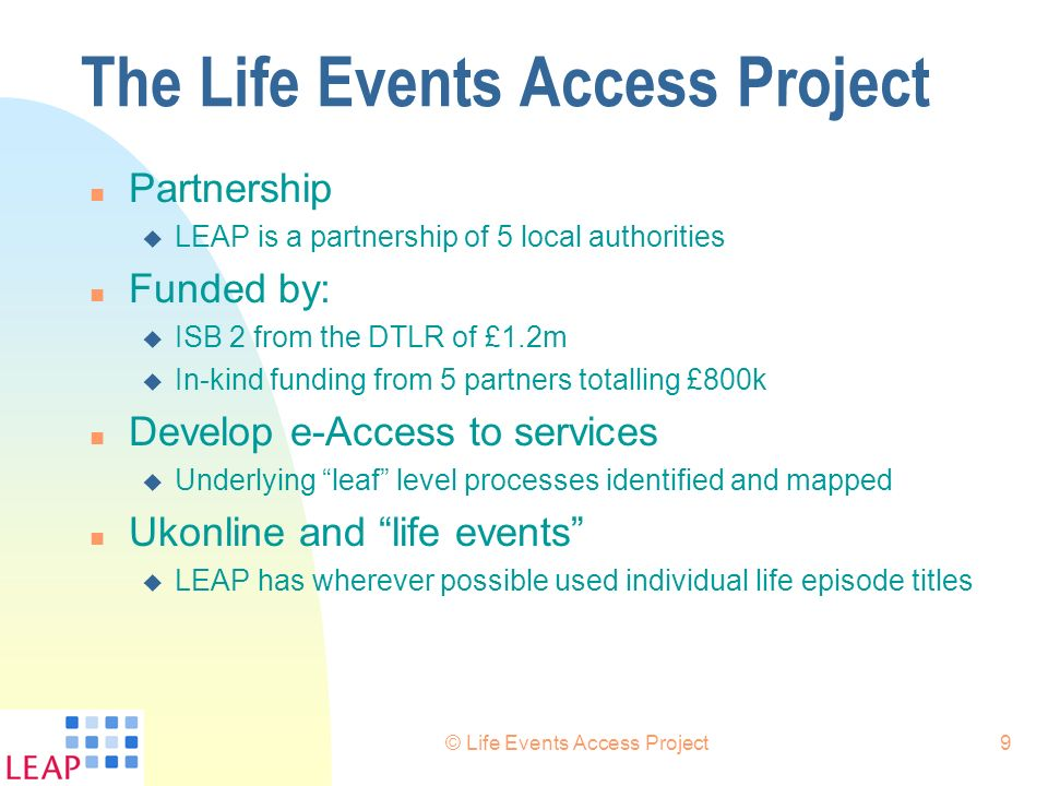 The Life Events Access Project