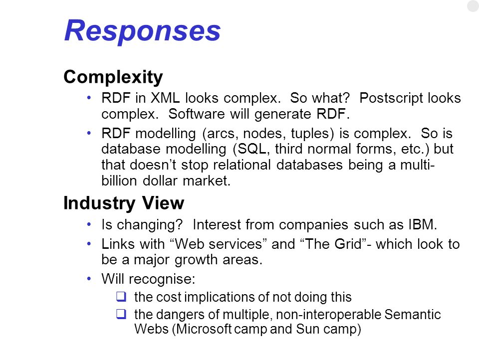 Responses Complexity Industry View