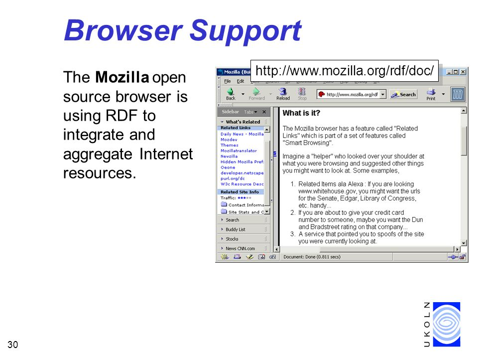 Browser Support http://www.mozilla.org/rdf/doc/ The Mozilla open source browser is using RDF to integrate and aggregate Internet resources.