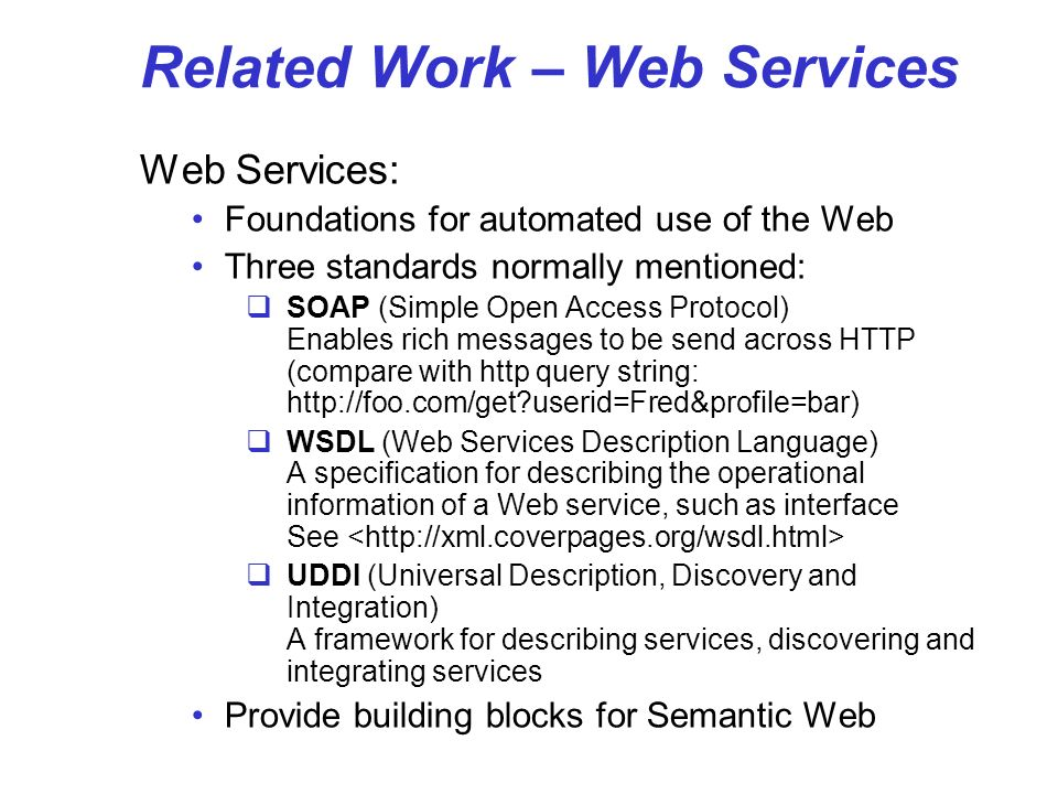 Related Work – Web Services