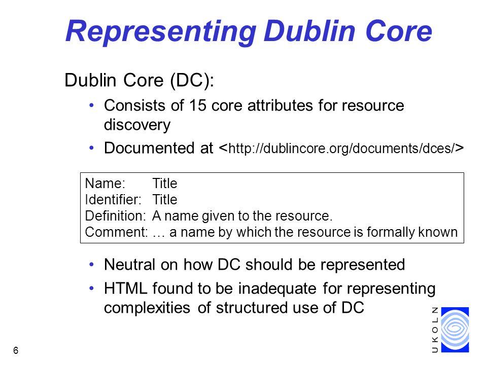Representing Dublin Core
