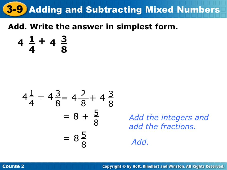 3-9 Adding and Subtracting Mixed Numbers Do Now Add or subtract ...