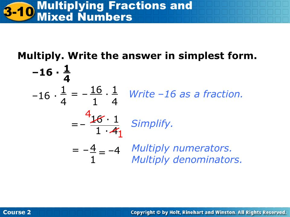 3-10 Multiplying Fractions and Mixed Numbers Warm Up - ppt video ...