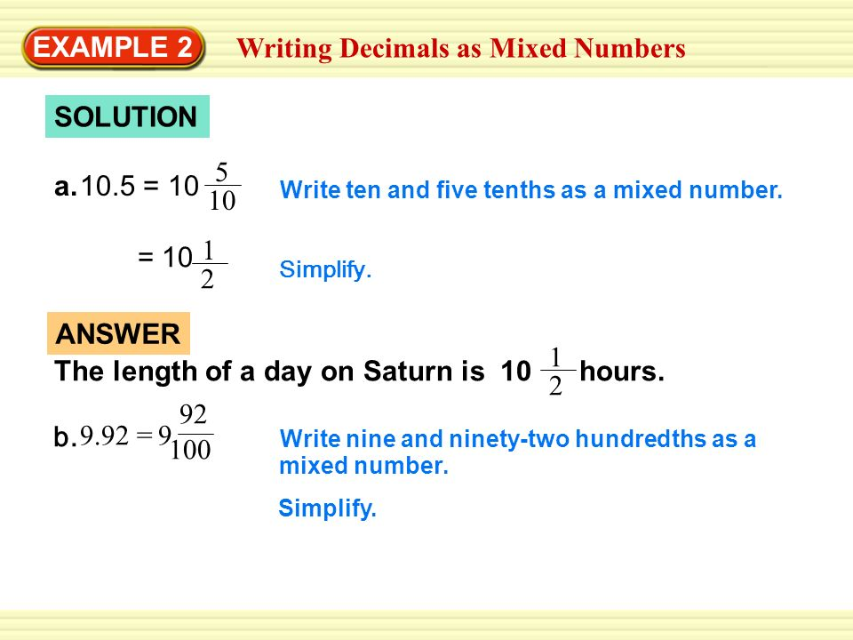 writing decimals as fractions or mixed numbers