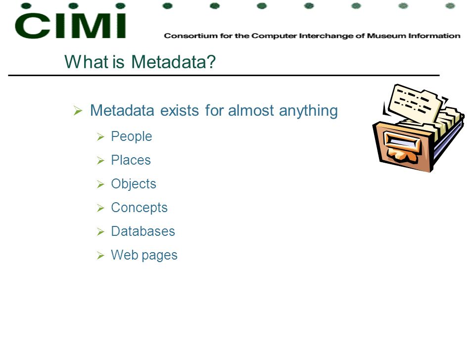 What is Metadata Metadata exists for almost anything People Places