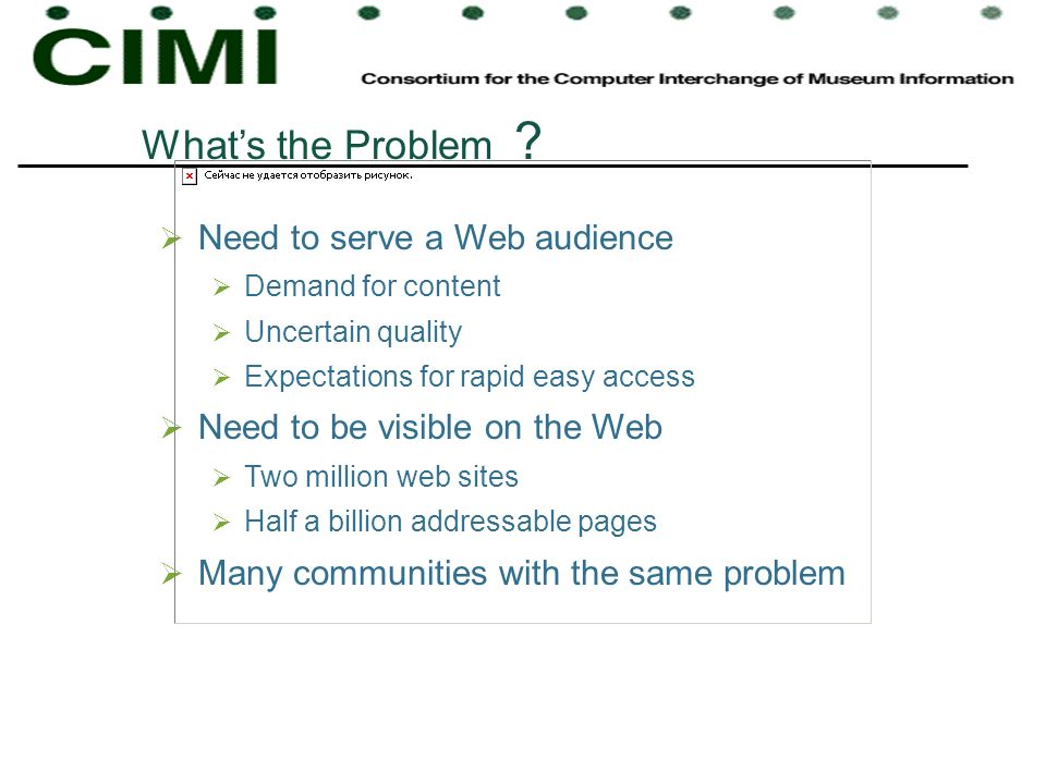 What's the Problem Need to serve a Web audience